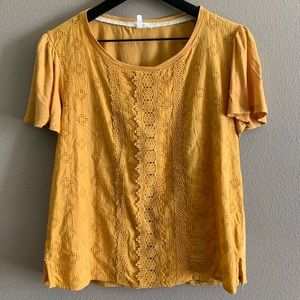 Lace detail top in harvest gold🌻